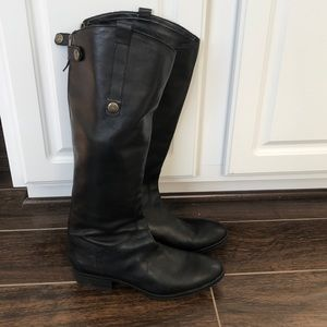 Women's black leather riding boot